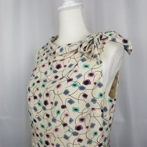 LOFT Floral Silk Bow Blouse